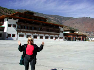 Linda arrives at Paro Airport!